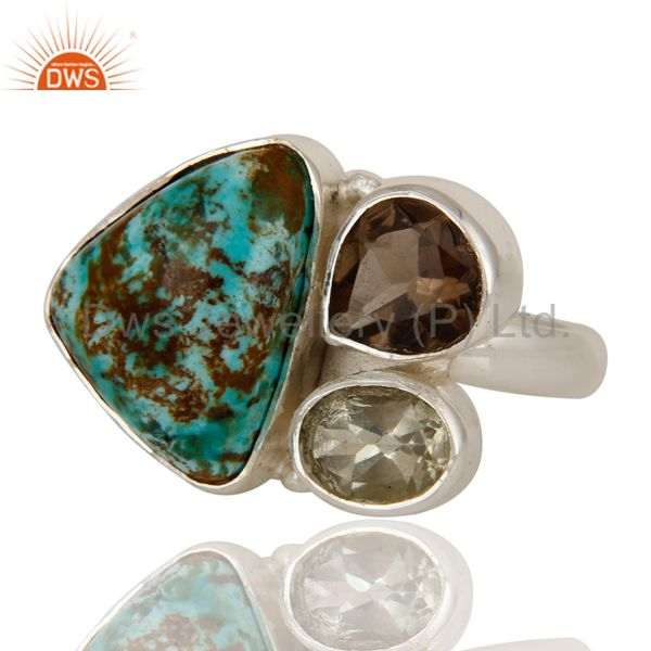 Exporter Boulder Turquoise, Smokey and Green Amethyst  Sterling Silver Gemstone Ring