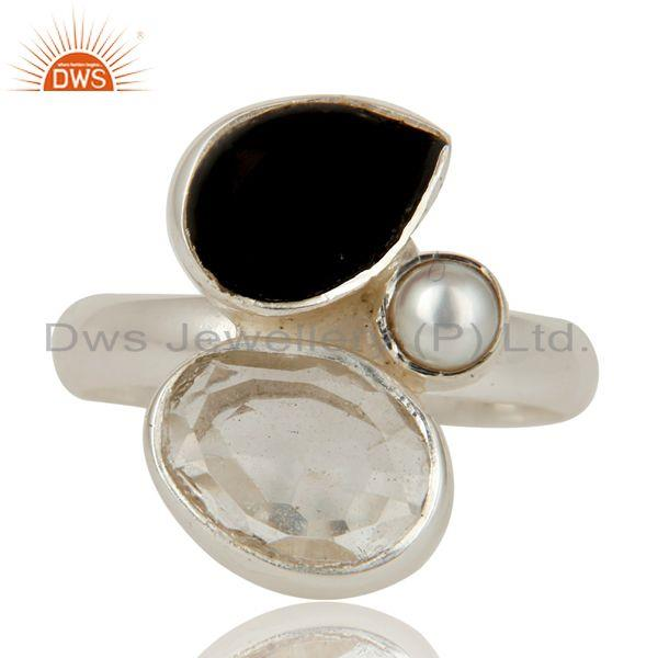 Exporter Black Onyx, Crystal and Pearl Solid Sterling Silver Gemstone Ring