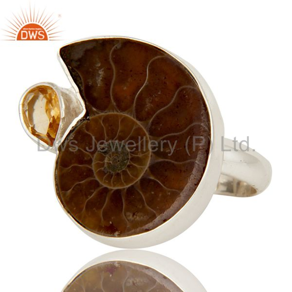 Exporter Handmade Natural Ammonite & Pear Cut Citrine 925 Sterling Silver Statement Ring