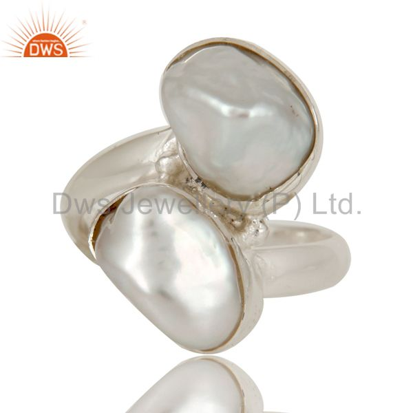 Exporter Fresh Water Pearl Solid Sterling Silver Handmade Two Stone Ring