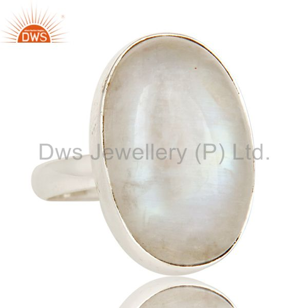 Exporter Rainbow Moonstone Simple Bezel Set Solid 925 Silver Gemstone Ring