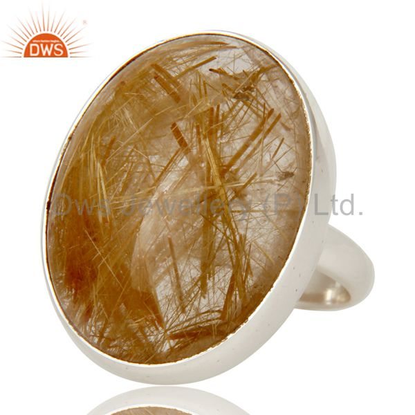 Exporter Yellow Rutile Golden Rutile Solid 925 Silver Handmade Bezel Set Ring