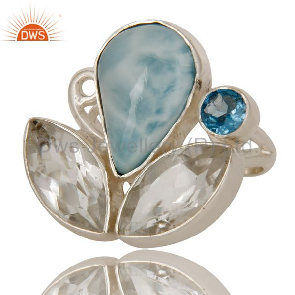 Exporter Larimar Blue Topaz and Crystal Quartz Designer Handmade Sterling Silver Ring