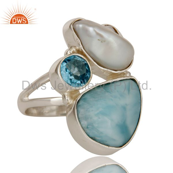 Exporter Larimar Fresh Water Pearl and Blue Topaz Sterling Silver Artisan Ring