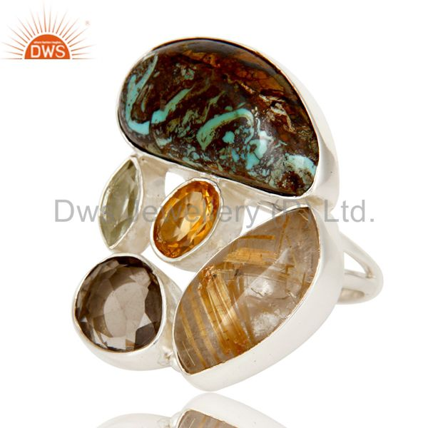 Exporter Boulder Turquoise, Rutile Citrine and Multi Gemstone Colorful 925 Silver Ring