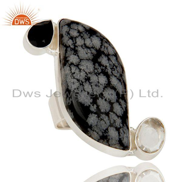Exporter Snowflak Obsidian, Black Onyx and Crystal Quartz Solid Sterling Silver Ring