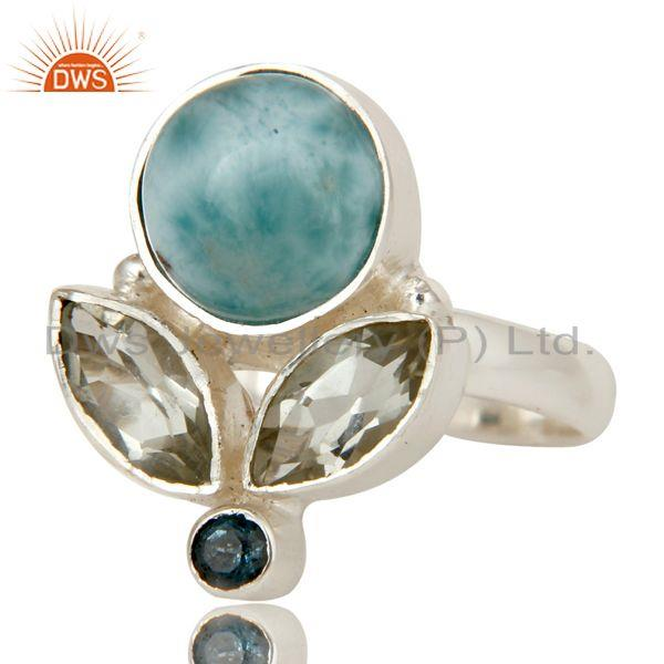 Exporter Larimar, Green Amethyst and Blue Topaz Sterling Silver Gemstone Ring