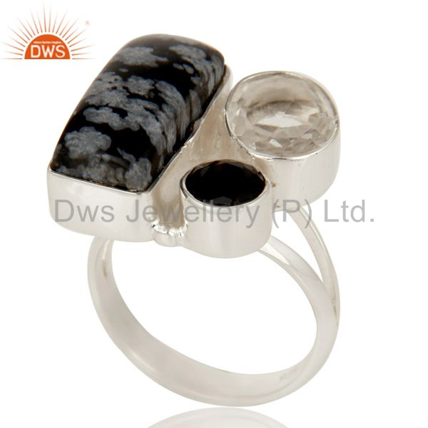 Exporter Snowflake Obsidian, Black Onyx and Crystal Solid Sterling Silver Handmade Ring
