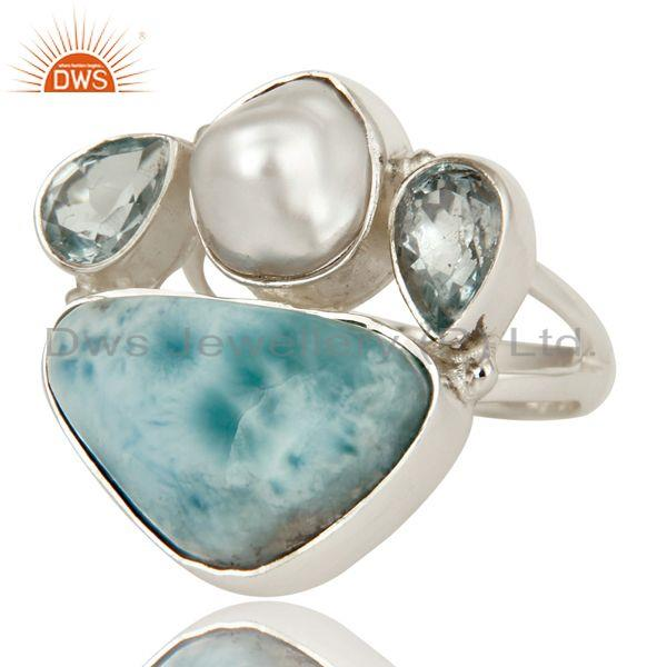 Exporter Fresh Water Pearl, Larimar and Blue Topaz Sterling Silver Artisan Statement Ring