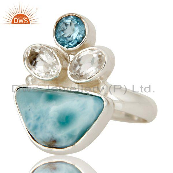 Exporter Larimar, Blue Topaz and Crystal Solid Sterling Silver Artisan Ring