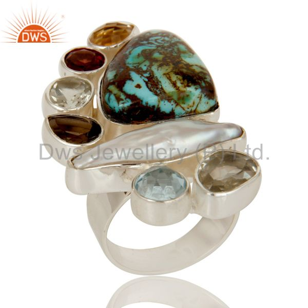 Exporter Boulder Turquoise, Citrine, Fresh Water Pearl Multi Stone Combination Ring