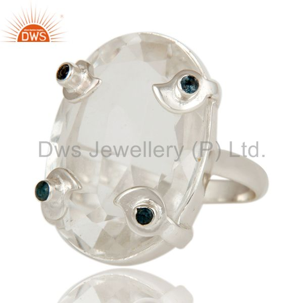 Exporter London Bue Topaz and Crystal Beautiful Sterling Silver Bezel and Prong Ring