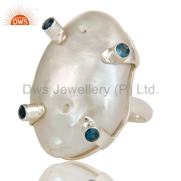 Exporter Baroque Pearl and London Blue Topaz Prong Set Sterling Silver Ring