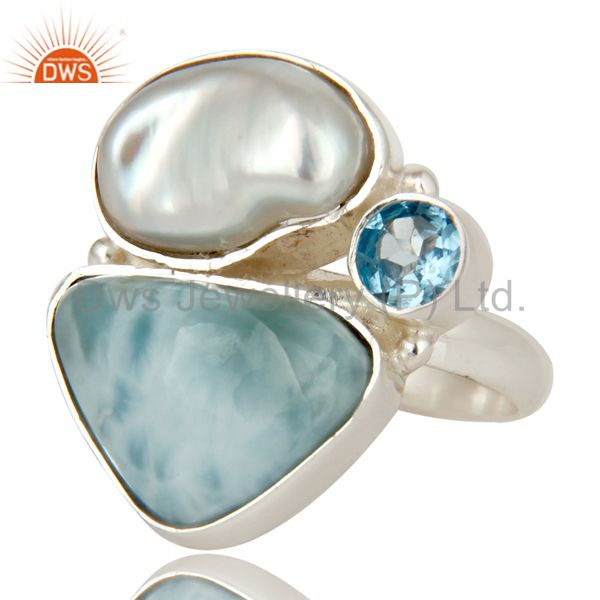 Exporter Larimar, Fresh Water Pearl and BT Solid 925 Silver Gemstone Ring