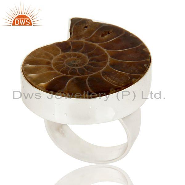 Exporter Lovely Simple Design Ammonite Statement Ring with 925 Sterling Silver