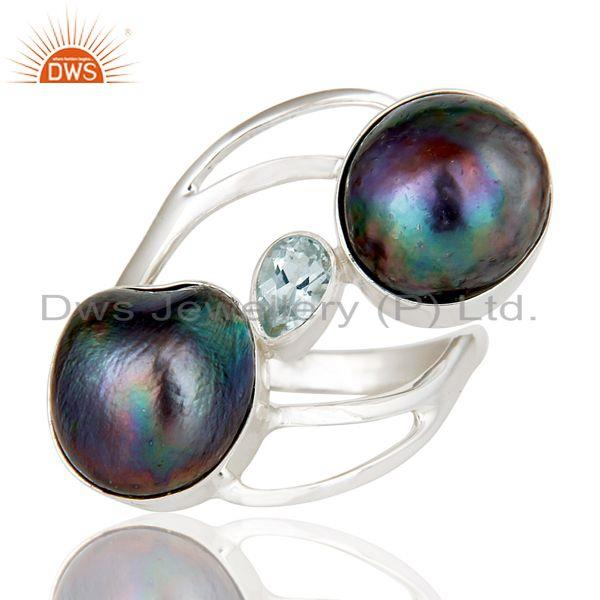 Exporter Blue Topaz & Fresh Water Pearl 925 Sterling Silver Statement Designer Ring