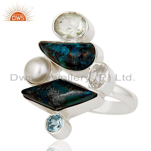 Exporter Chrysocola, Blue Topaz, Amethyst, Quartz & Pearl Sterling Silver Statement Ring