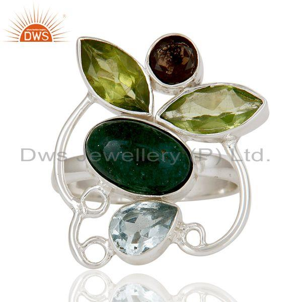 Exporter Chrysocola, Blue Topaz, Peridot & Smokey Topaz Sterling Silver Statement Ring
