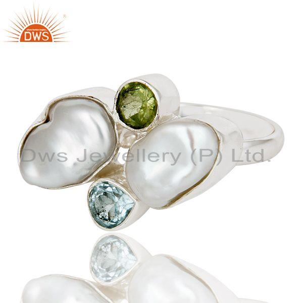 Exporter Fresh Water Pearl, Blue Topaz & Peridot 925 Sterling Silver Statement Ring