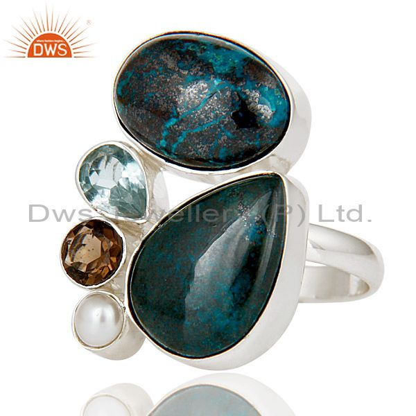 Exporter Chrysocola, Blue Topaz, Pearl & Smokey Topaz 925 Sterling Silver Statement Ring