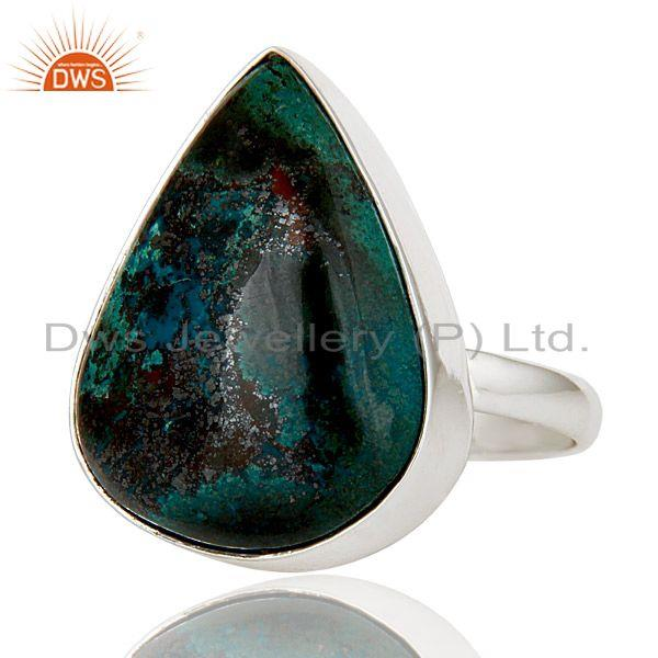 Exporter Lovely Handmade Pear Cut Design Chrysocola 925 Sterling Silver Statement Ring