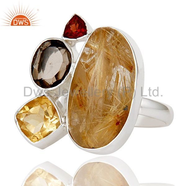 Exporter Golden Rutile,Garnet,Citrine And Smokey Topaz Sterling Silver Statement Rsing