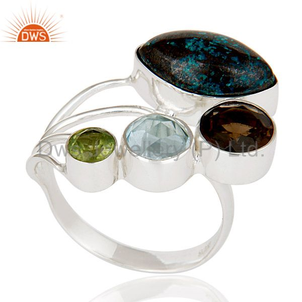 Exporter Blue Topaz, Chrysocola, Peridot & Smokey Topaz Sterling Silver Statement Ring