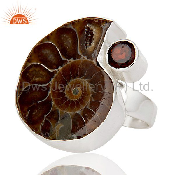 Exporter Natural Ammonite & Round Cut Garnet 925 Sterling Silver Statement Ring Jewellery