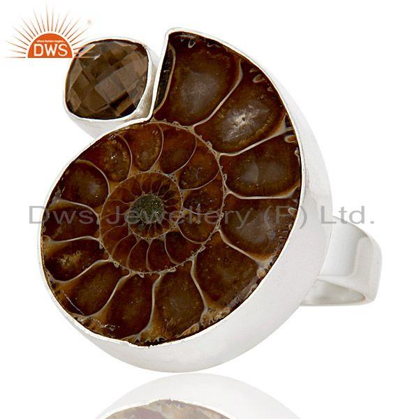 Exporter Natural Ammonite & Smokey Topaz 925 Sterling Silver Statement Ring