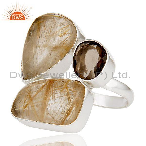 Exporter Natural Golden Rutile And Smoky Topaz 925 Sterling Silver Statement Ring
