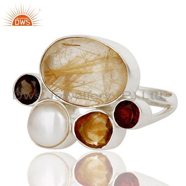 Exporter Golden Rutile,Garnet,Pearl,Citrine And Smoky Topaz 925 Sterling Silver Ring