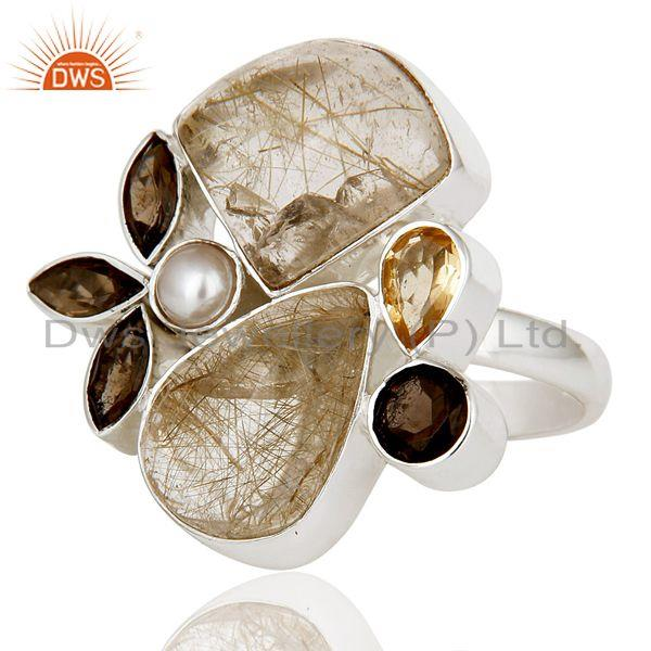 Exporter Golden Rutile,Pearl,Citrine And Smoky Topaz Sterling Silver Statement Ring