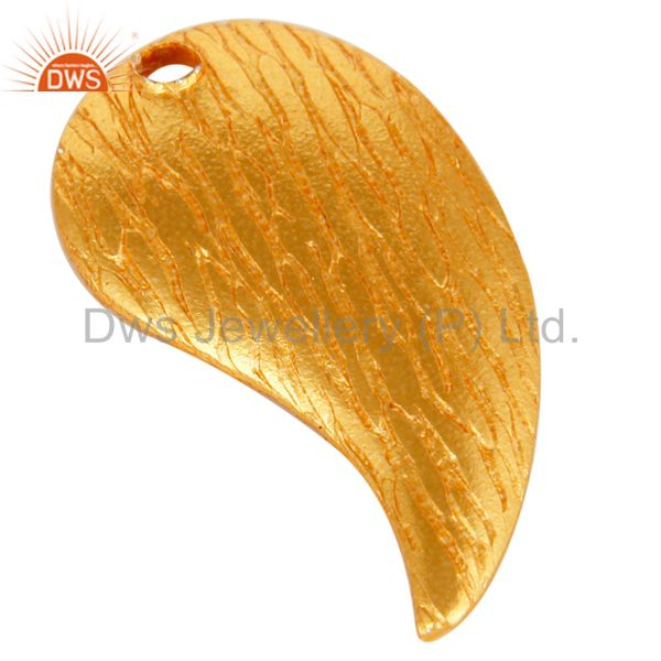 Exporter 18K Yellow Gold Plated Brass Brushed Finish Teardrop Charms Finding Jewelry