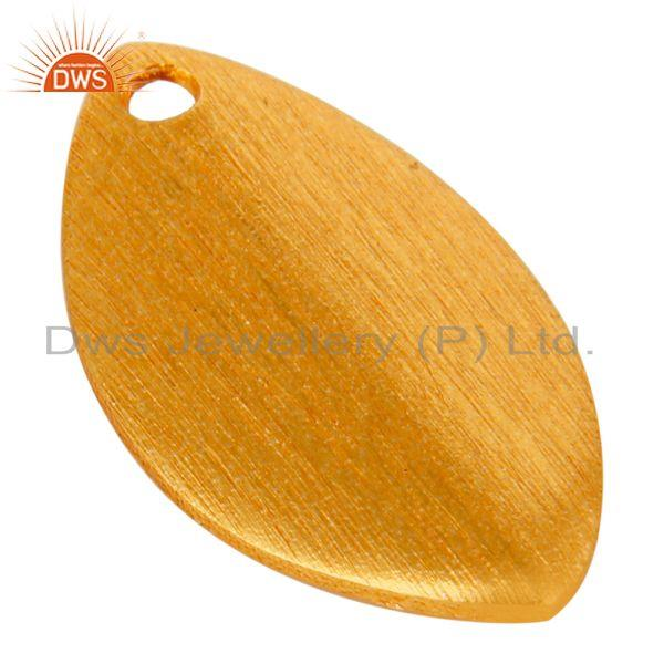 Exporter 14K Yellow Gold Plated Brass Matte Finish Teardrop Finding Jewelry