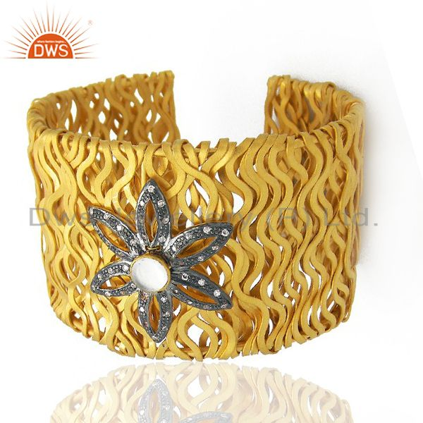 Exporter 22K Yellow Gold Plated Sterling Silver CZ Vintage Look Wide Cuff Bracelet
