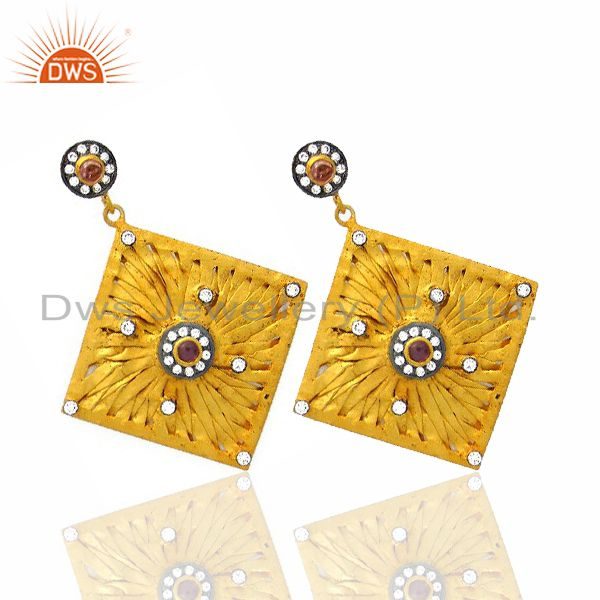 Exporter 14K Yellow Gold Plated Sterling Silver Pink Tourmaline And CZ Dangle Earrings