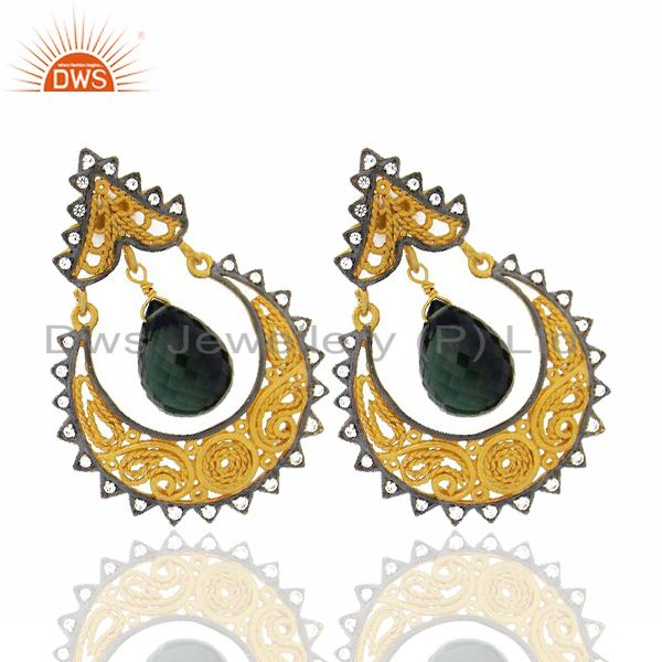 Exporter 18K Yellow Gold Plated Sterling Silver Green Chalcedony And CZ Ethnic Earrings