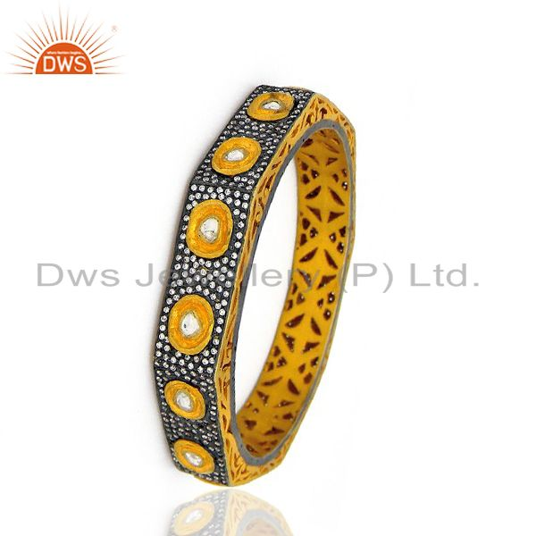 Supplier of 18k yellow gold 925 silver cz crystal polki victorian style bangle