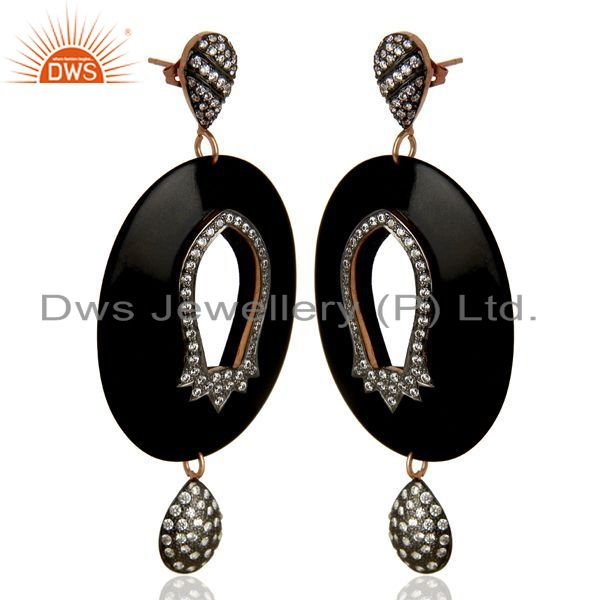 Exporter Wholesale Brass White Zircon Bakelite Fashion Earrings Manufacturer