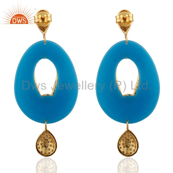 Exporter 18K Yellow Gold Plated Brass Blue Bakelite And Cubic Zirconia Dangle Earrings