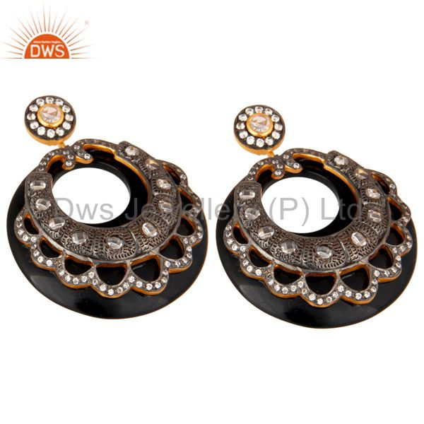Exporter Bakelite and CZ Black Oxidized and Yellow Gold Plated Dangler Earring
