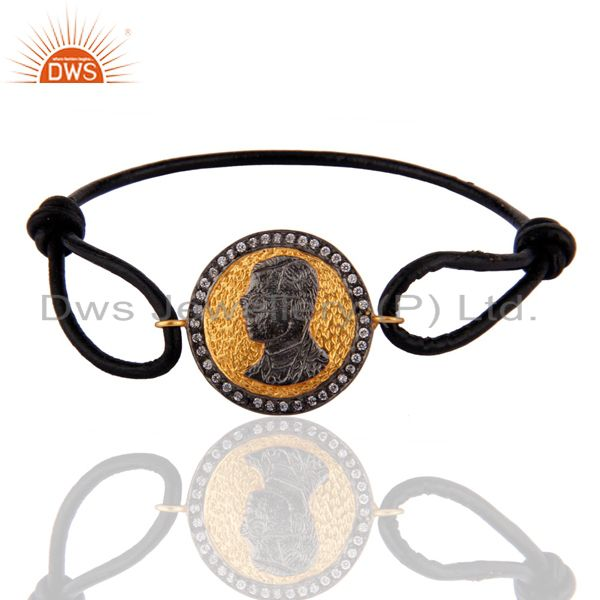 Exporter Black Leather Jewelry With 18K Gold Plated Face Sign Finding Bracelets For Mens