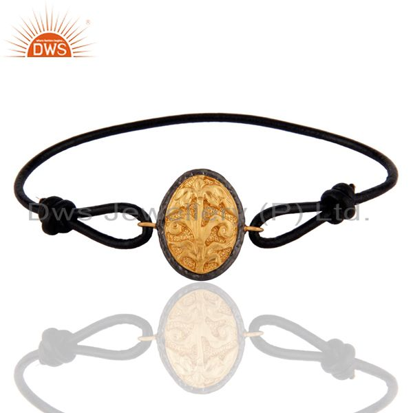 Exporter Flower Finding 18K Gold Plated Black Leather Adjustable Bracelet For Teens Boys
