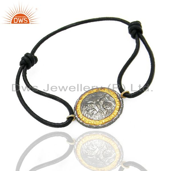 Exporter Oxidized And 22K Yellow Gold Plated Vintage Charms Fashion Macrame Bracelet