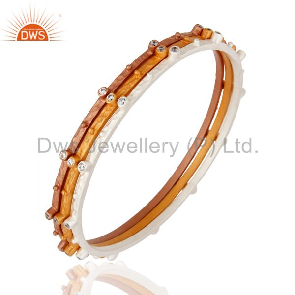 Exporter 18K Gold Plated White Cubic Zirconia Bridal Fashion Bangle Jewelry 3 Pcs Set