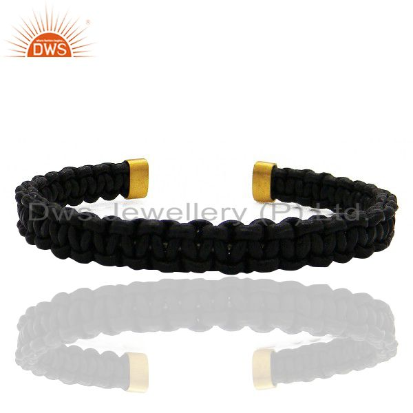 Exporter 18K Yellow Gold Plated Black Leather Woven Pattern Macrame Cuff Bracelet