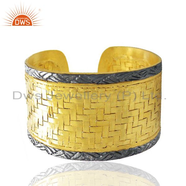 Exporter 22K Yellow Gold Plated Brass Woven Pattern Wide Fashion Cuff Bracelet