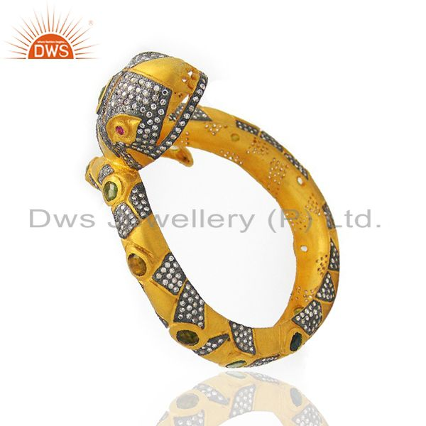 Supplier of 22k yellow gold brass cz crystal polki antique style snake bangle