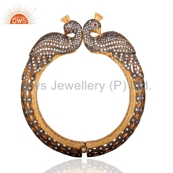 Supplier of 22k gold plated peacock designer bangle set with cubic zirconia