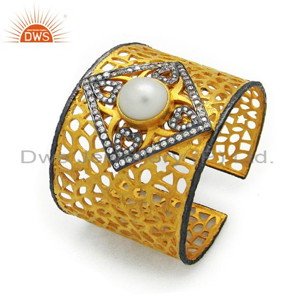 Exporter 22K Yellow Gold Plated Brass Filigree Wide Cuff Bracelet With Pearl And CZ